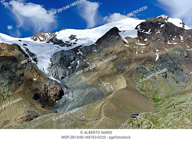 Stelvio National Park, Mt Cevedale 3 769 m , La Mare Glacier, Mt Rosole, Venezia Valley, Larcher Hut, the Central Alps, Italy
