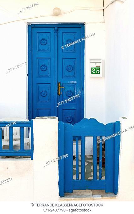 A colorful doorway in Mykonos town, Chora, Mykonos, Greece, Europe