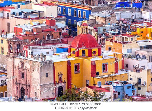 Colored Houses Iglesia de San Roque San Roque Church Guanajuato, Mexico