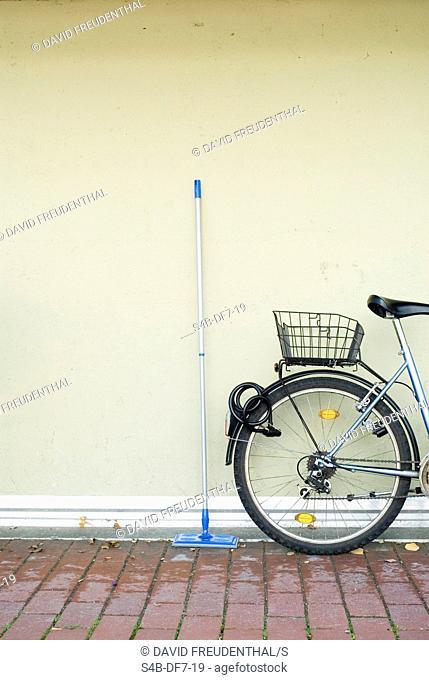 Swab next to a bicycle