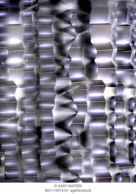 Metal strips folded in abstract zigzag pattern