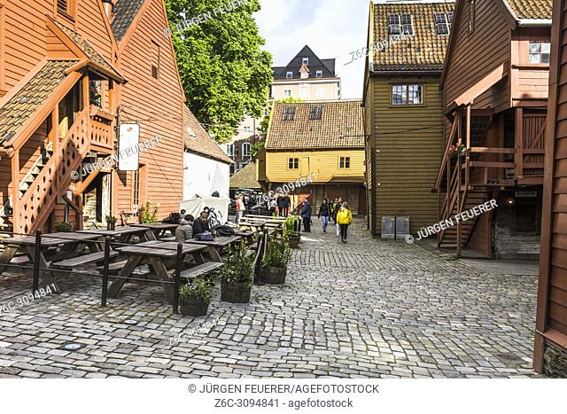 Old Hanseatic buildings of Bryggen in Bergen, Norway, inner view
