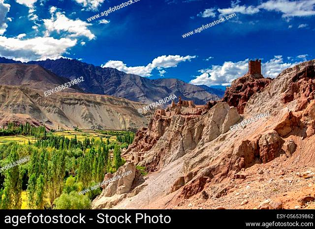 Ruins and Basgo Monastery surrounded with stones and rocks, Leh, Ladakh, Jammu and Kashmir, India
