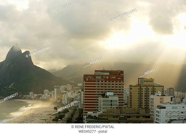 Aerial view of Ipanema Beach, The Brothers Peaks,  Southern area of Rio de Janiero, Brazil
