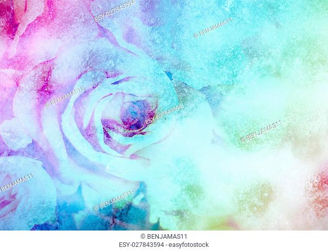 Colourful fantasy Ice with Rose soft pink blur background