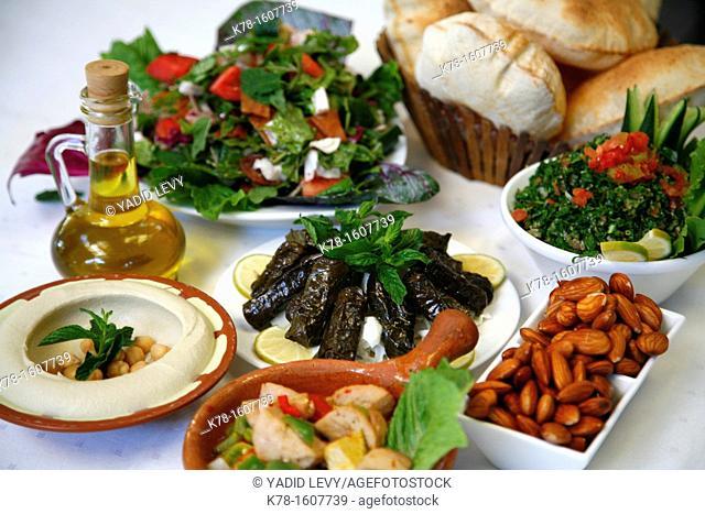Mezzes hummus, salad, cow testicles, almonds, tabboulehat the Lebanese House restaurant in Jerash, Jordan
