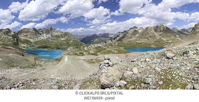 Panorama of the turquoise lakes framed by rocky peaks Joriseen Jörifless Pass canton of Graubünden Engadin Switzerland Europe