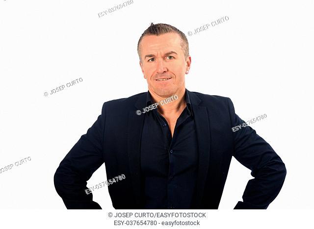 man with blazer on white background