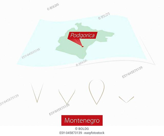Curved paper map of Montenegro with capital Podgorica on Gray Background. Four different Map pin set. Vector Illustration