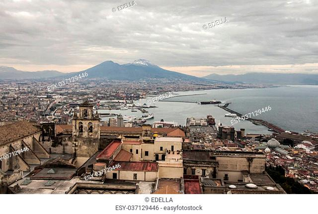 view of the volcano and bay of naples, italy