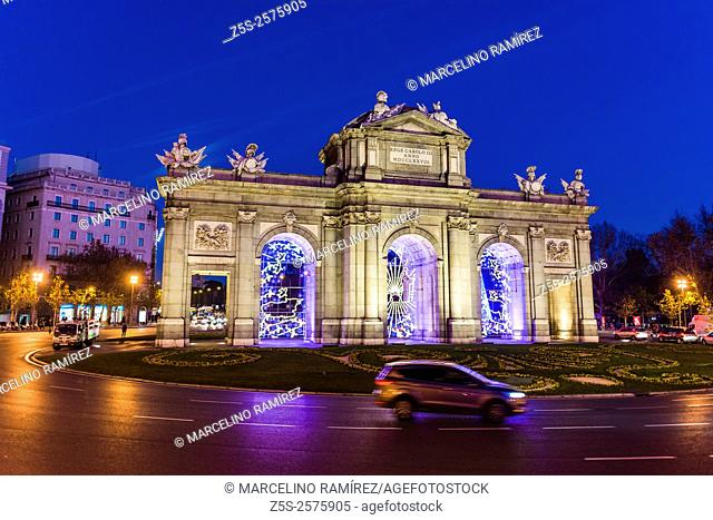 Puerta de Alcalá - Alcala gate - Christmas lights in Madrid. Spain. Europe