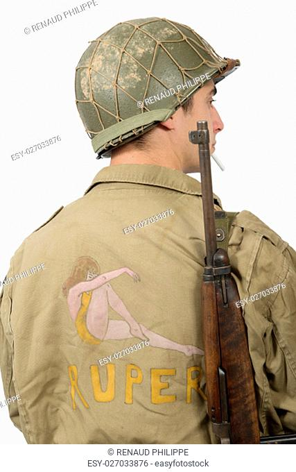 American young soldier ww2, back view on white background