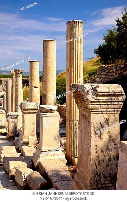 Ancient columns and Statue pedestals line the Street of Curetes in Ephesus, near Selcuk Izmir Turkey