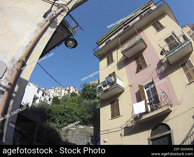 Manarola village on July 19, 2015 in Ligurian sea in Cinque Terre La Spezia Italy