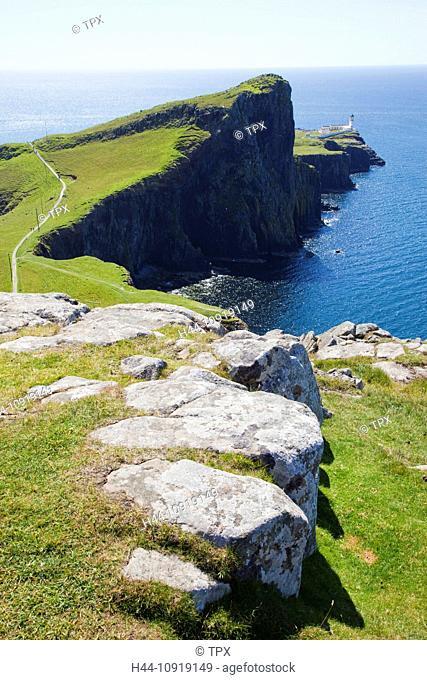 UK, United Kingdom, Europe, Scotland, Inner Hebrides, Hebrides, Isle of Skye, Skye, Neist Point, Lighthouse, Lighthouses, Coast, Coastal, Coastline, Sea