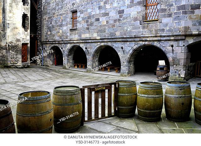 Internal yard of 12th century Château de Murol - Monument Historique since 1889 what helped to save it, Route Historique des Châteaux d'Auvergne
