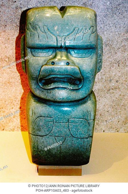 Jade votive axe : Olmec, 1200-400 BC. Mexico