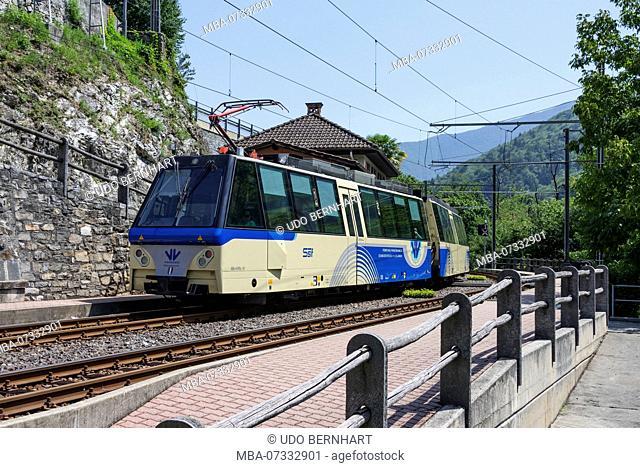 Centovalli train in railway station, Centovalli, Ticino, Switzerland