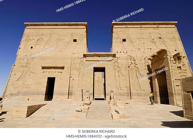 Egypt, Upper Egypt, Philae, Temple of Philae listed as World Heritage by UNESCO, first pylon leading to the Mammisi sanctuary of divine birth