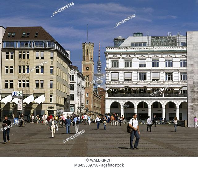 Germany, Hamburg, Alsterarkaden,  Old mail, passer-bys,  Europe, Central Europe, Hanseatic town, port, old town, town hall market, post street, arcades, sight