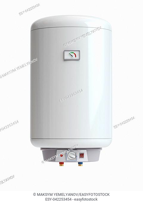 Electric boiler, water heater isolated on white background. 3d illustration