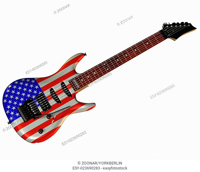 Electric Guitar with USA flag