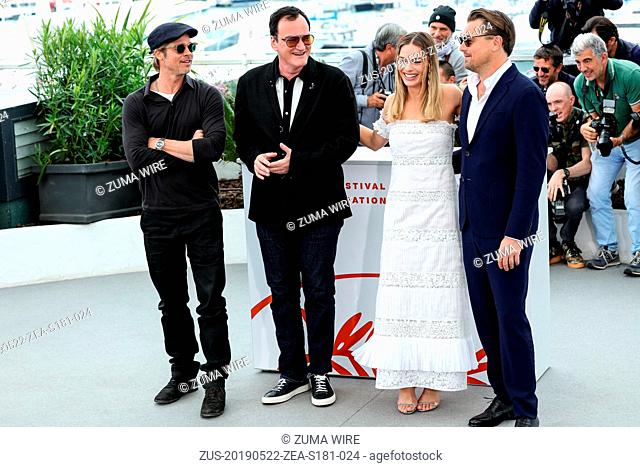 May 22, 2019 - Cannes, France - CANNES - MAY 22:  Brad Pitt, Leonardo DiCaprio, Quentin Tarantino and Margot Robbie on the ONCE UPON A TIME.