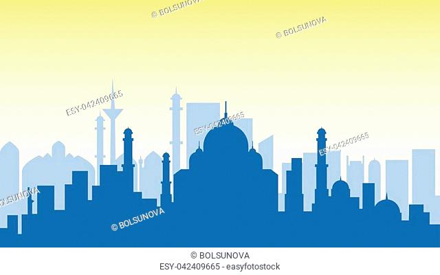 Stock vector illustration background silhouette architecture buildings and monuments town city country travel printed materials, cover, India, monuments