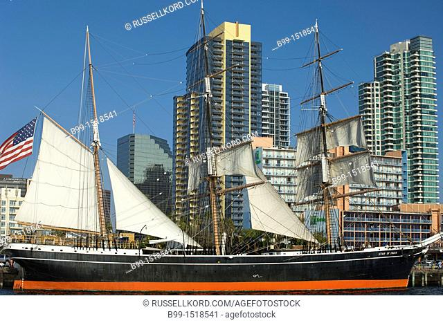 Star Of India Tall Ship Maritime Museum Downtown Skyline San Diego California USA