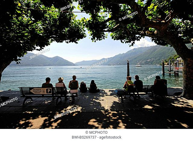 view from lakeside promenade of Ascona to Lake Maggiore , Switzerland, Ticino, Lago Maggiore, Ascona