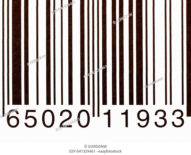 Extreme closeup of a product barcode on a white background