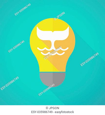 Illustration of a long shadow light bulb with a whale tail