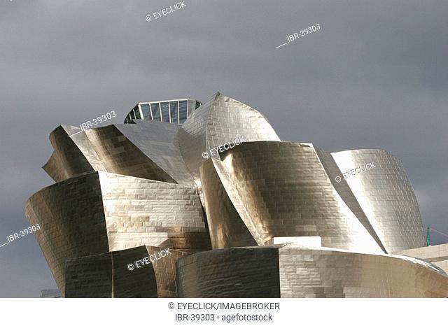 Guggenheim museum in detail Bilbao Spain