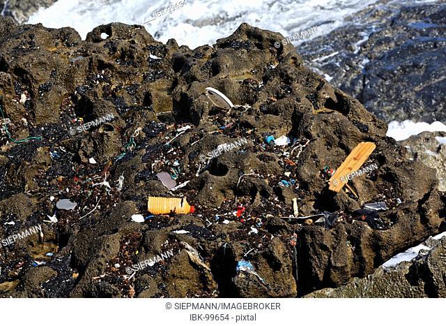Flotsam and jetsam at rock , Fuerteventura , Canary Islands