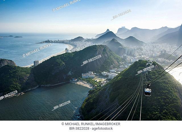 View from the Sugarloaf Mountain or Pão de Açúcar and the famous cable car, Rio de Janeiro, Brazil