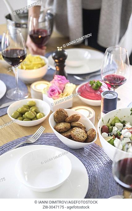 Vegetarian mediterranean food on the table- Vegetarian Sunday Brunch