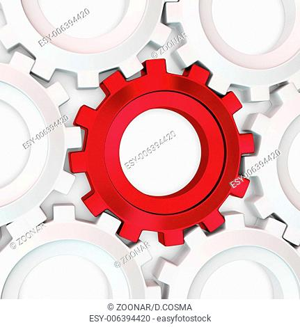 3d red cog with white crowd