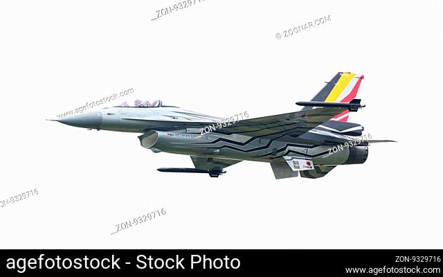 LEEUWARDEN, THE NETHERLANDS-JUNE 10, 2016: Belgium - Air Force General Dynamics F-16 AM at the Dutch Airshow on June 10, 2016 at Leeuwarden Airfield