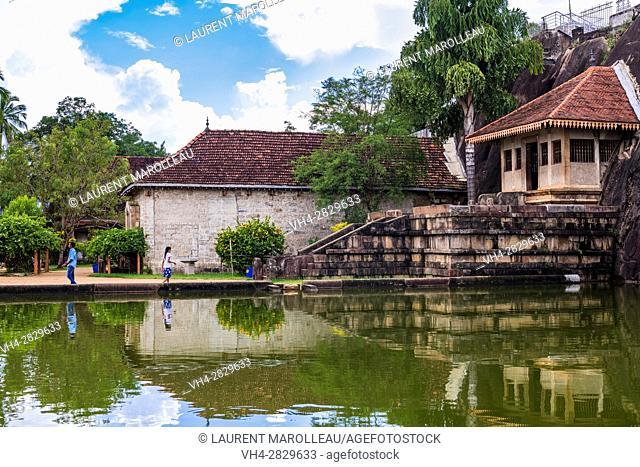 Shrine and Elephant Pond at Isurumuniya Vihara Temple, Sacred City of Anuradhapura, North Central Province, Sri Lanka, Asia