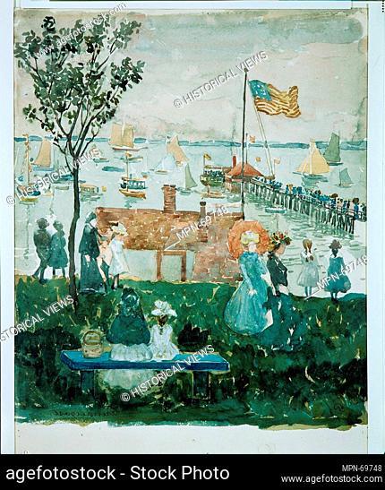 Excursionists, Nahant. Artist: Maurice Brazil Prendergast (American, St. John's, Newfoundland 1858-1924 New York); Date: ca