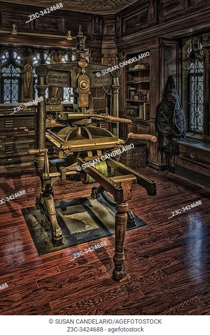 Bibliographical Press - View to an Albion hand press, built in England in the 1800s