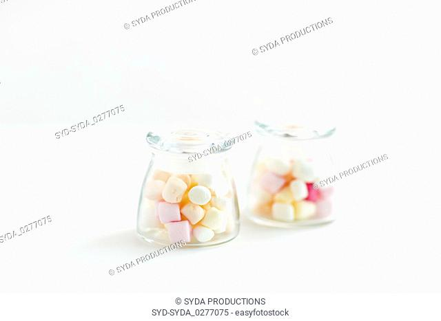close up of jars with marshmallows