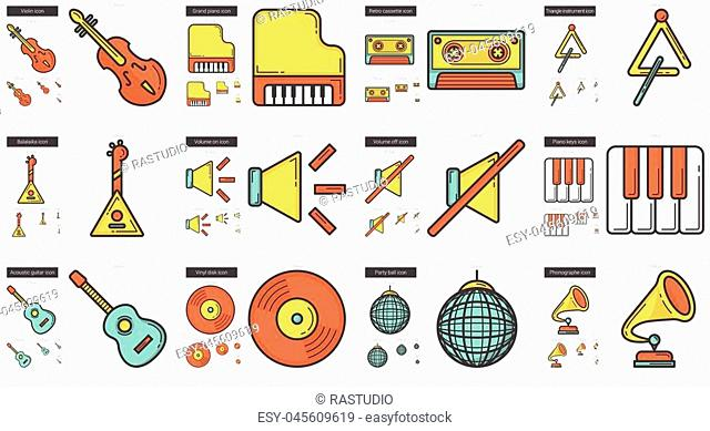 Music vector line icon set isolated on white background. Music line icon set for infographic, website or app. Scalable icon designed on a grid system