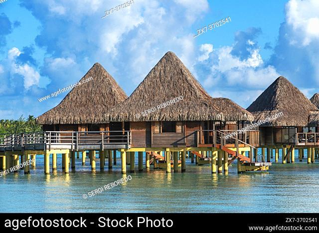 Overwater bungalows of the Luxury Hotel Kia Ora Resort & Spa on Rangiroa, Tuamotu Islands, French Polynesia