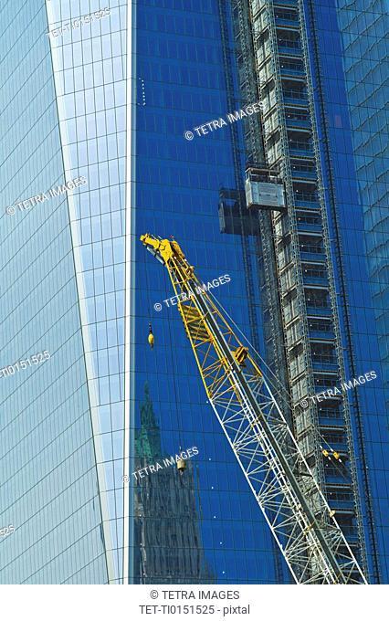 USA, New York, New York City, Lower Manhattan, Ground Zero, Freedom Tower construction site