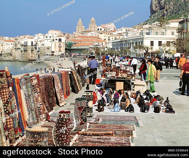 Cefalu seafront, one of the most beautiful and characteristic villages in the province of Palermo