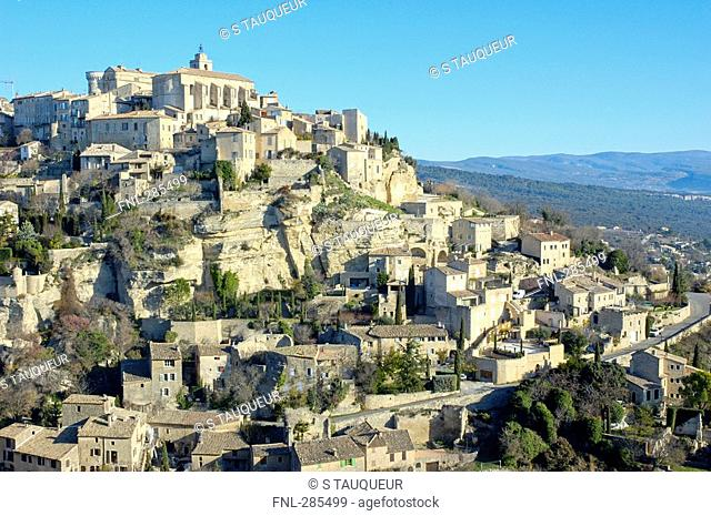 High angle view of houses on hilltop, Luberon, Gordes, Vaucluse, Provence-Alpes-Cote d'Azur, France