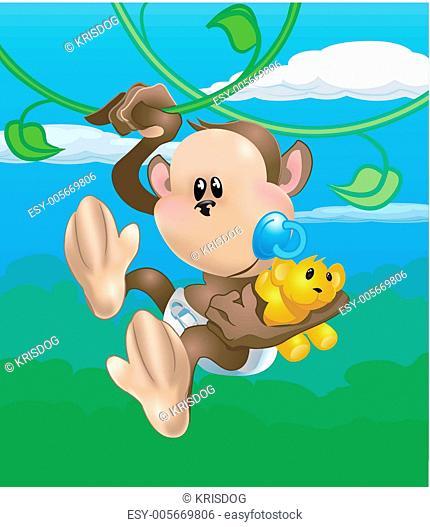 Monkey Swinging Vine Stock Photos And Images Age Fotostock