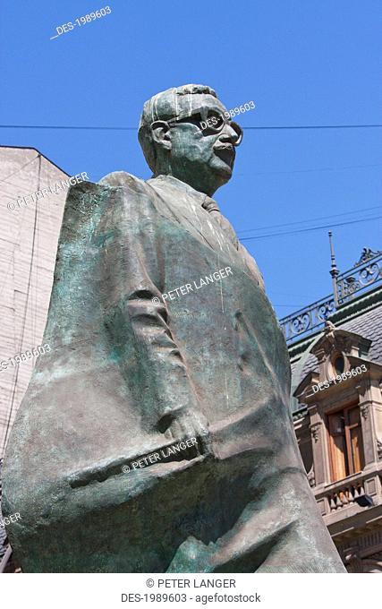 Statue to President Salvador Allende Gossens on Plaza de la Constitucion, Santiago, Metropolitan Region, Chile