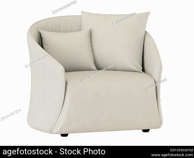 Soft light armchair with two pillows on a white background 3d rendering